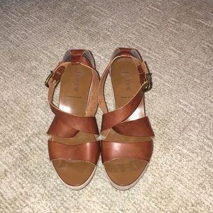 J Crew Marguerite Toffee Colored Leather Wedges